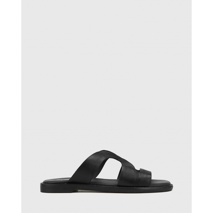 Casio Leather Cut Out Slides Black by Wittner