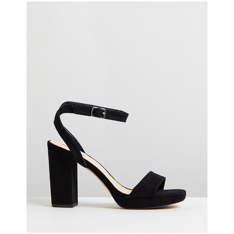Catalina Heels Black Microsuede by Dazie