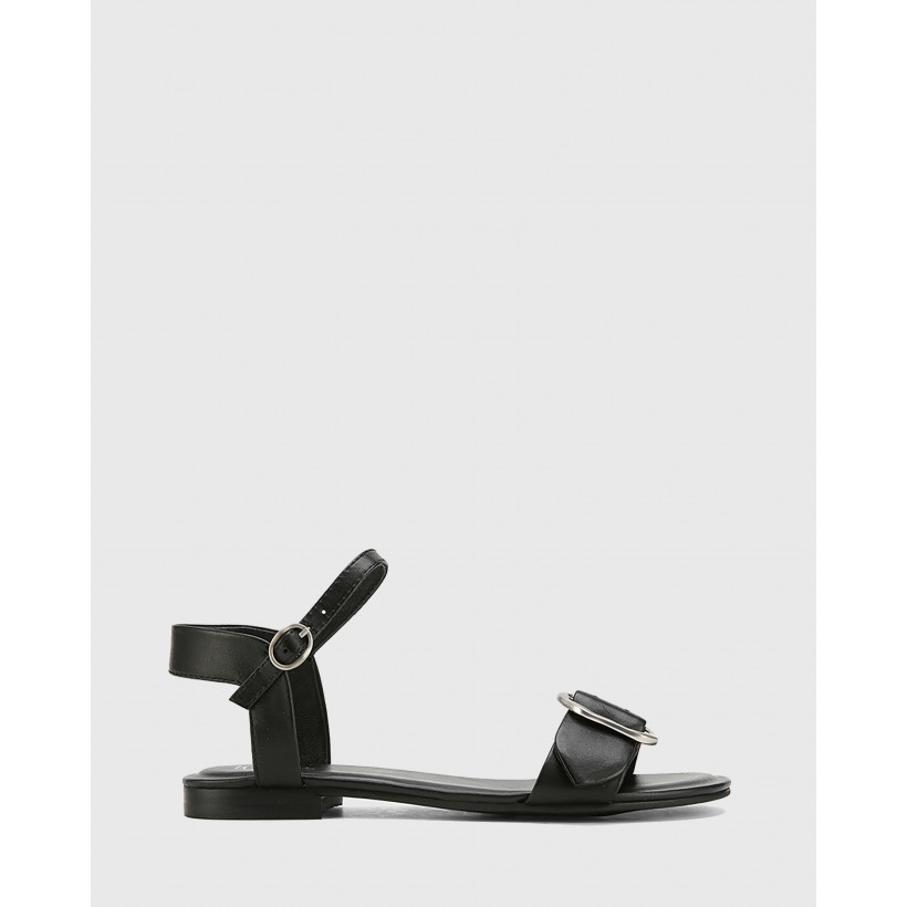 Caviana Leather Accent Buckle Flat Sandals Black by Wittner