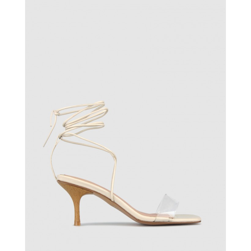 Celia Ankle Tie Heeled Sandals Off White/Clear by Zu