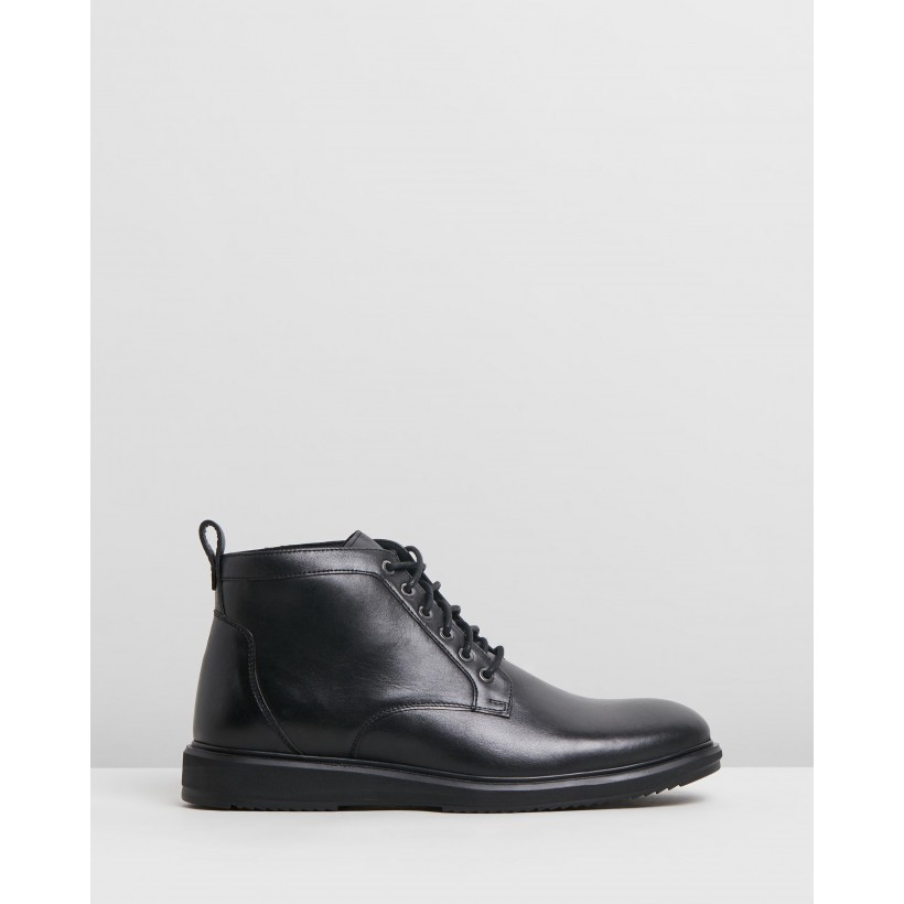 Charlie Leather Boots Black by Double Oak Mills