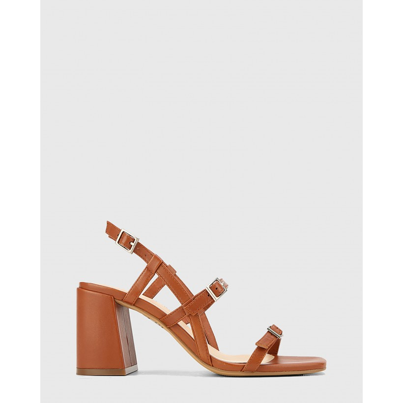 Charlton Leather Block Heel Sandals Brown by Wittner