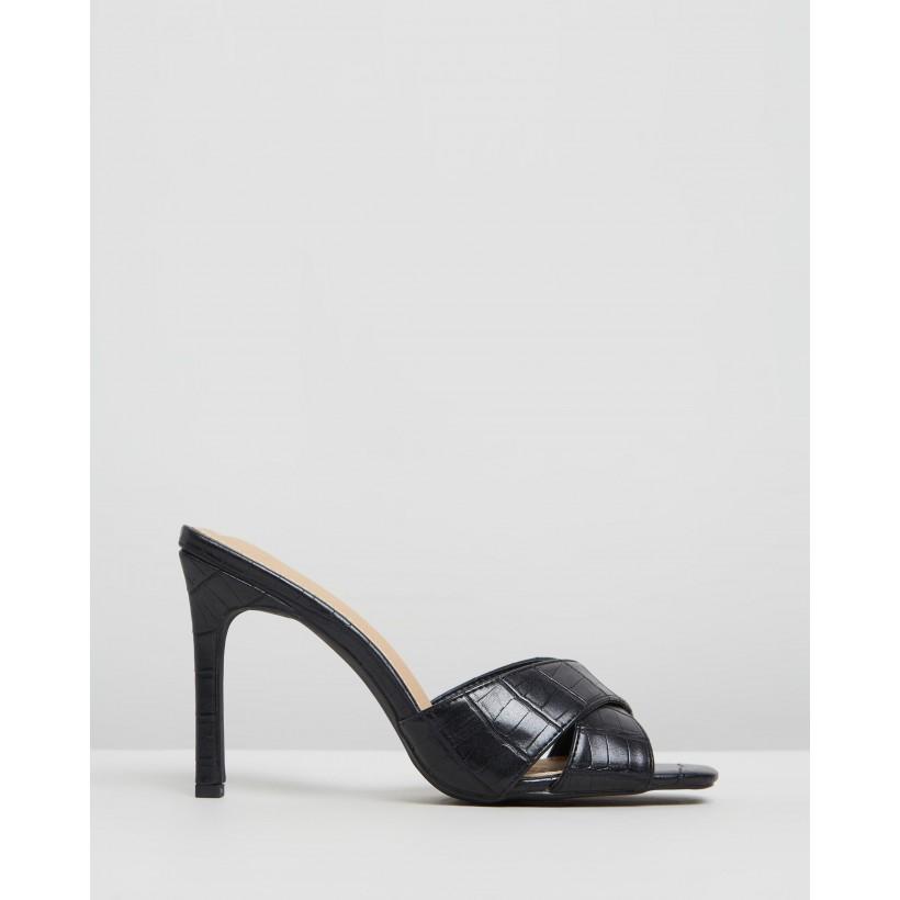 Chelrida Heels Black Croc by Spurr