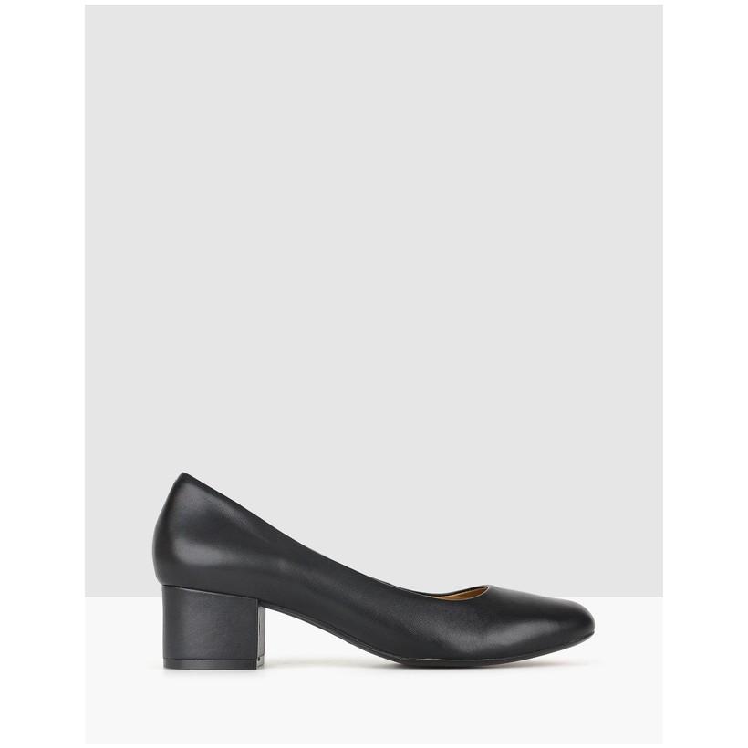 Cherish Leather Block Heel Pumps Black by Airflex