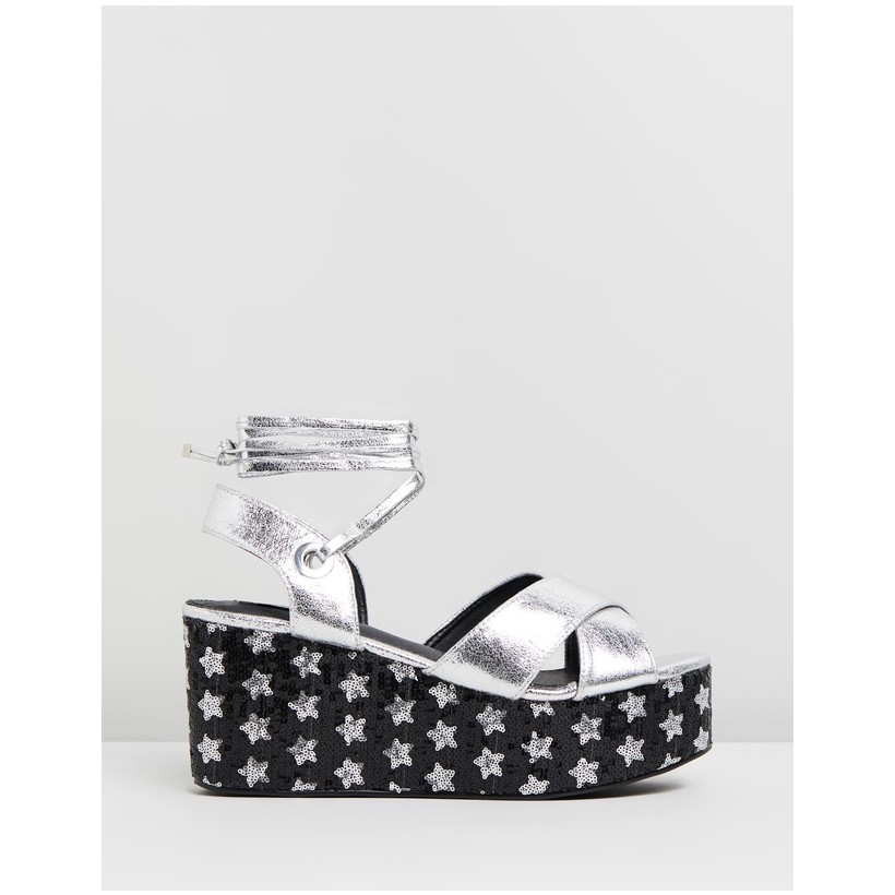 Chica Flatform Wedges Silver & Sequin by Dazie