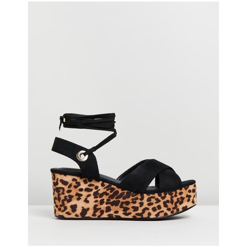 Chica Flatform Wedges Black & Leopard by Dazie