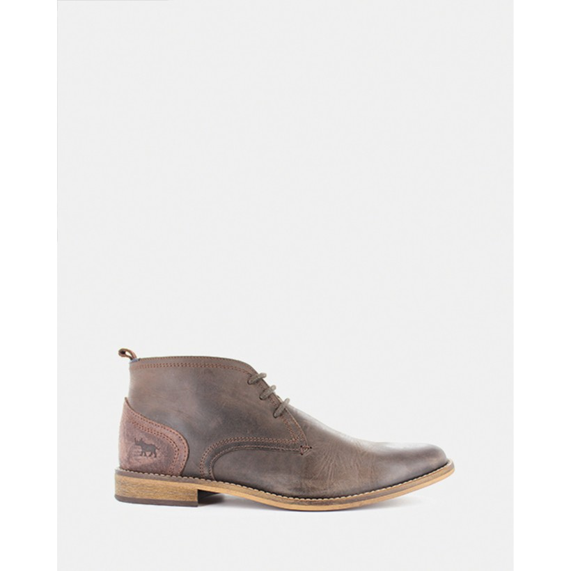 Chism Lace-Up Boots Dark Brown by Wild Rhino
