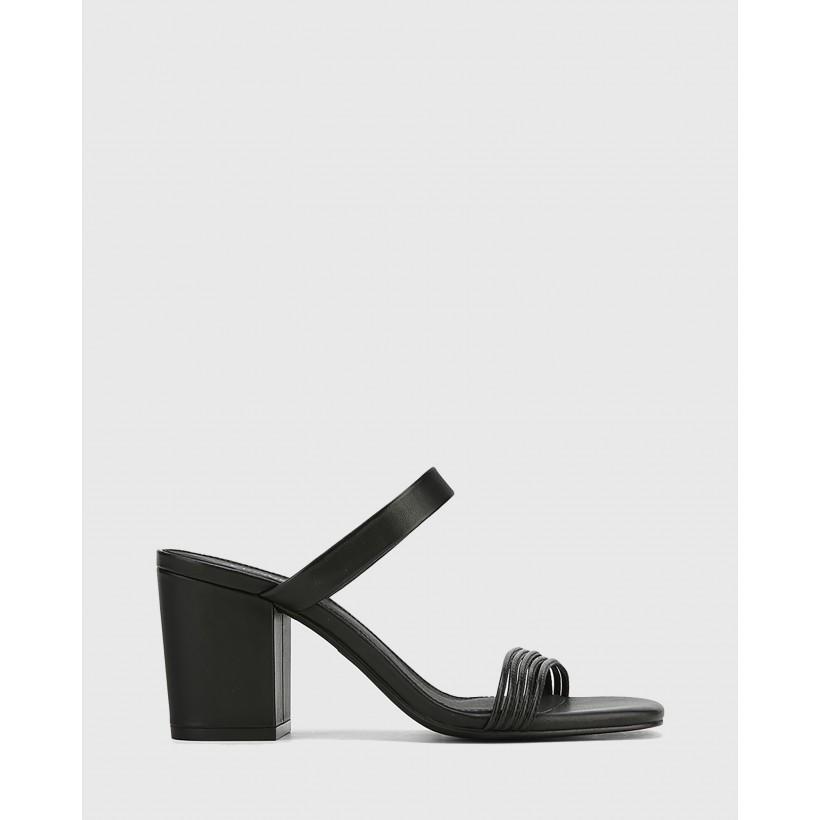 Christiano Leather Slip On Block Heel Sandals Black by Wittner
