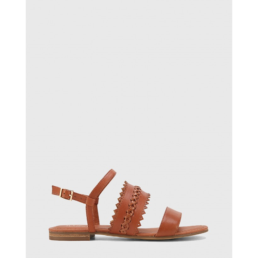 Christina Leather Open Toe Flat Sandals Brown by Wittner