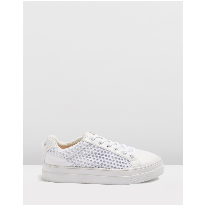 Clarissa Mesh Lace Up Sneakers White by Topshop