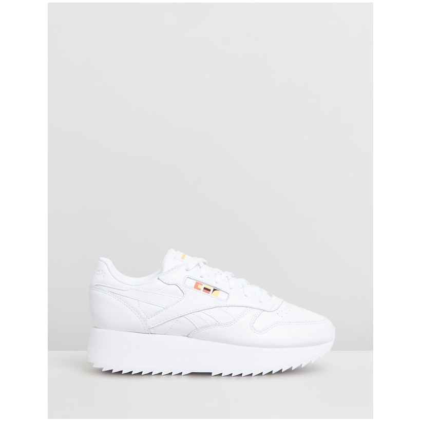 Classic Leather Double x Gigi Hadid White, Neon Red & Black by Reebok