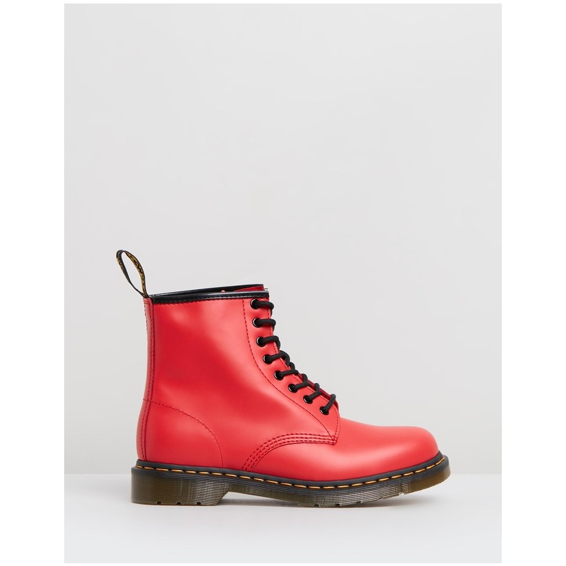 Classics 1460 W 8 Eye Boots - Women's Satchel Red Smooth by Dr Martens