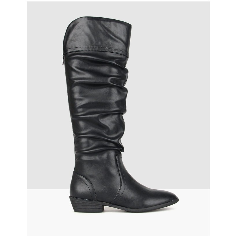 Cleveland Ruched Knee High Boots Black by Betts