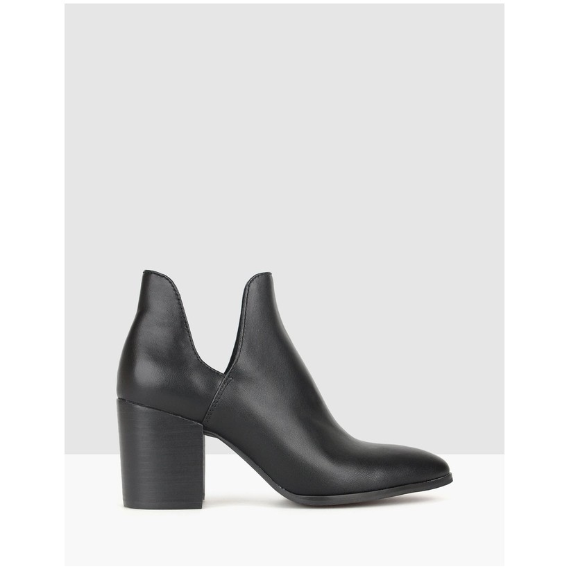 Click Cut Out Block Heel Boots Black by Betts