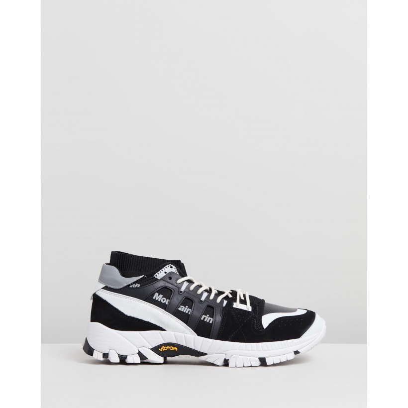Contrasted Vibram Sole Knitted Sneakers Black by White Mountaineering