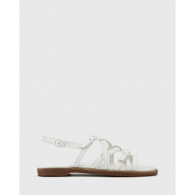 Cordelia Leather Buckle Strap Flat Sandals White by Wittner