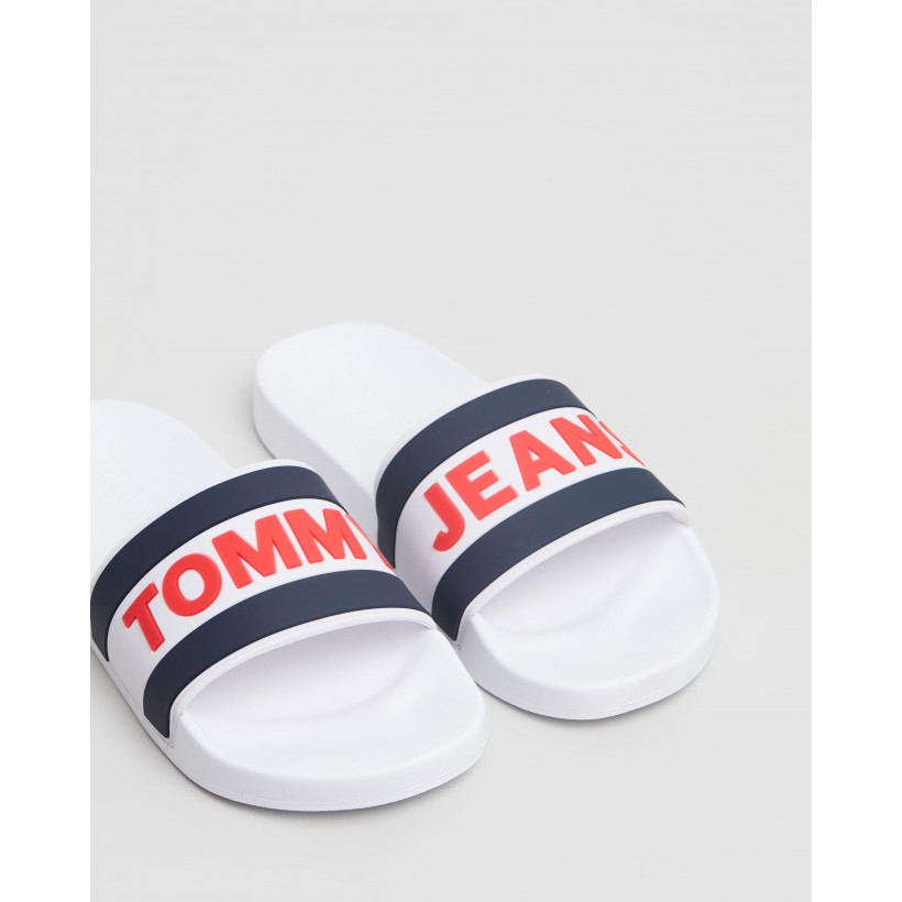 Core Pool Slides - Men's White by Tommy Jeans