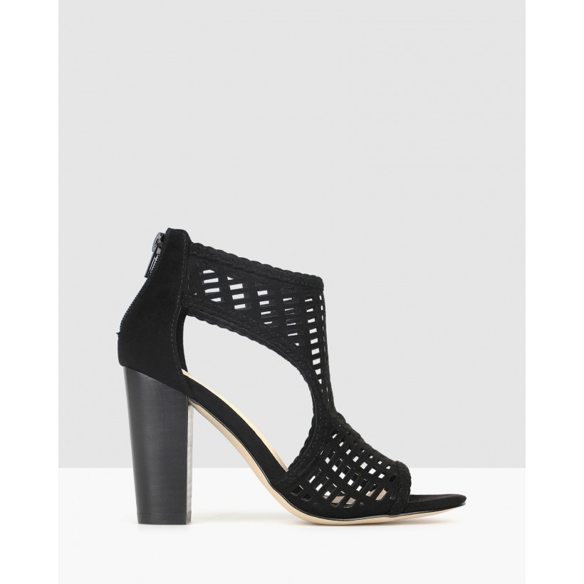 Cosmic Cut Out Block Heels Black by Betts