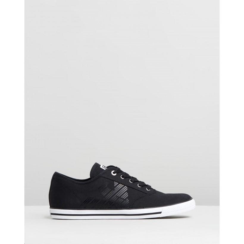 Cotton Twill Lace Up Sneakers Black by Emporio Armani Ea7