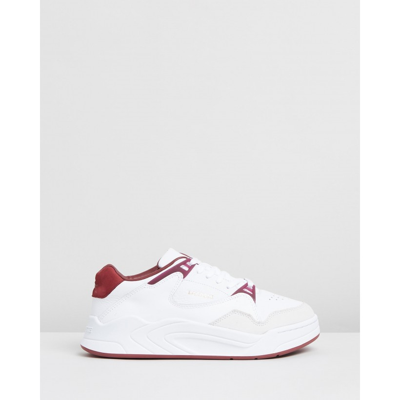 Court Slam 319 3 Sneakers - Women's White & Dark Red by Lacoste