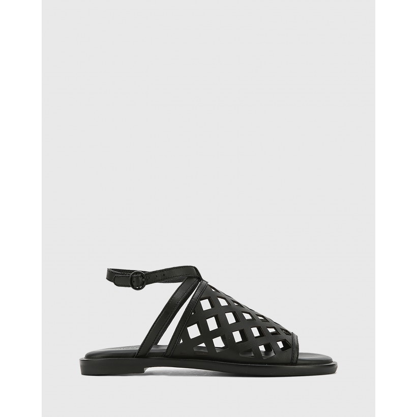 Cross Leather Laser Cut Ankle Strap Sandals Black by Wittner