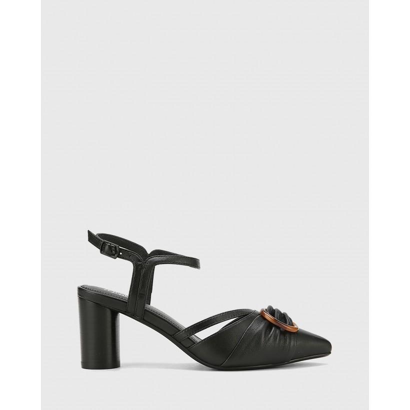 Daelyn Leather Block Heels Black by Wittner