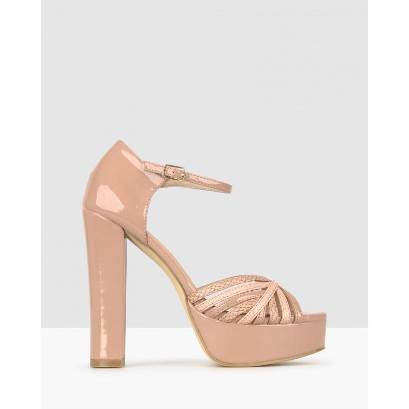 Daphnee Platform Block Heel Sandals Blush by Betts