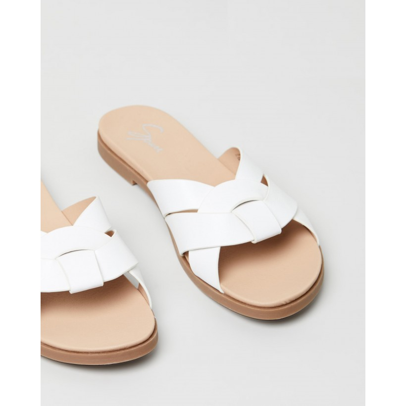 Darlia Slides White Smooth by Spurr