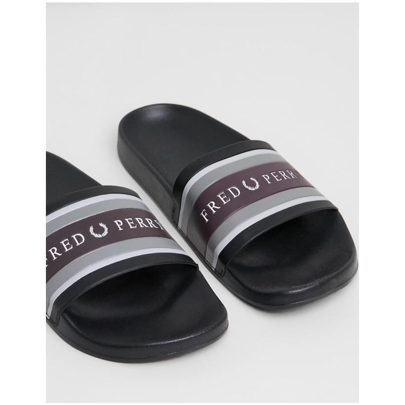 Debossed Branding Sliders - Men's Black by Fred Perry