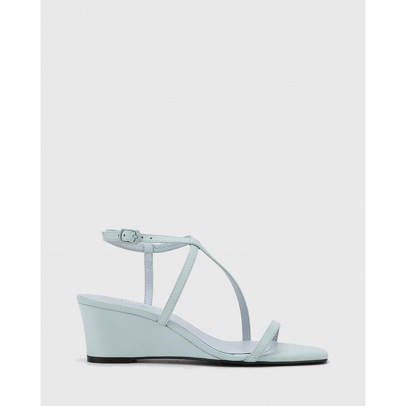 Decker Nappa Leather Wedge Heel Sandals Blue by Wittner