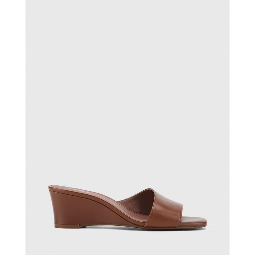Delaney Leather Wedge Heel Slides Brown by Wittner