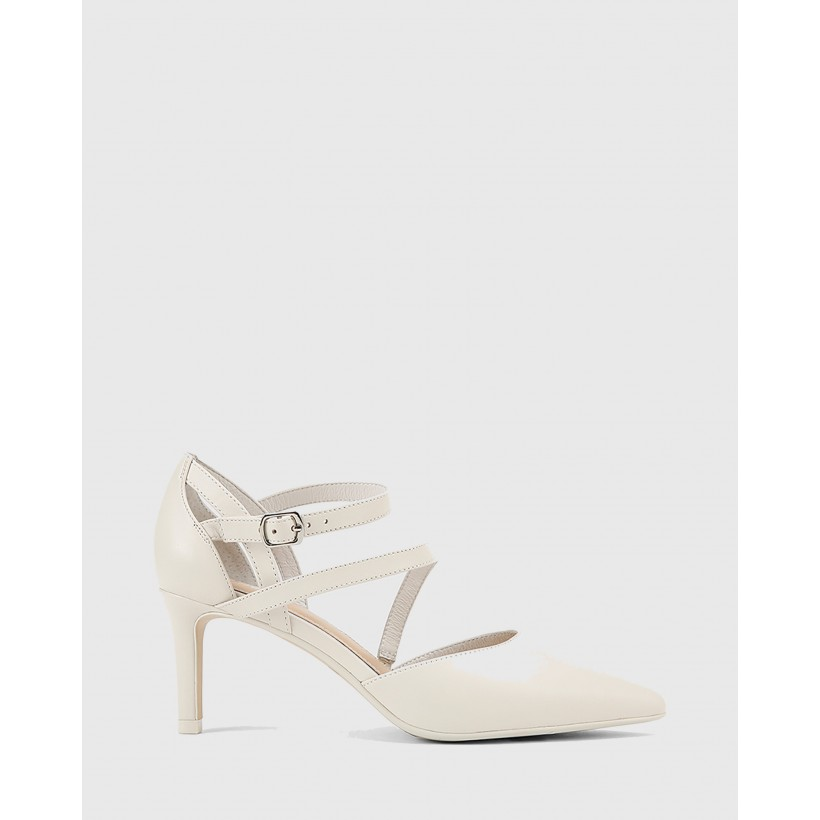 Delby Nappa Leather Pointed Toe Stiletto Heels White by Wittner