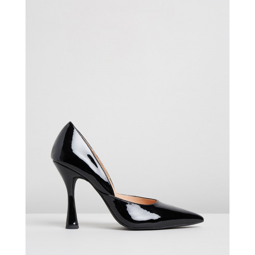 Delia Pumps Black Patent by Dazie