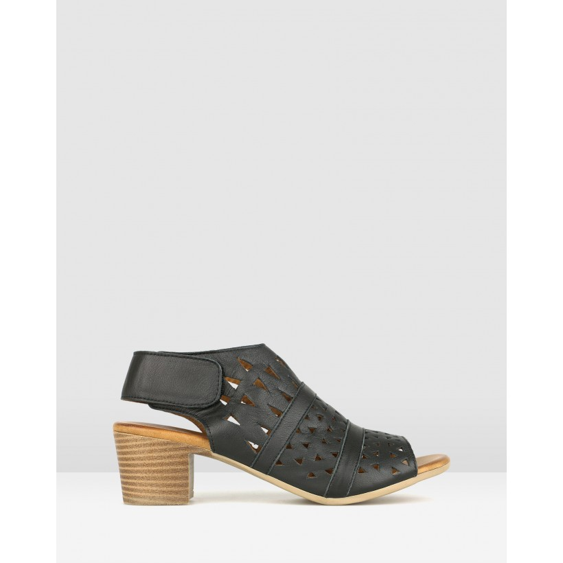 Delicious Cut Out Leather Sandals Black by Airflex