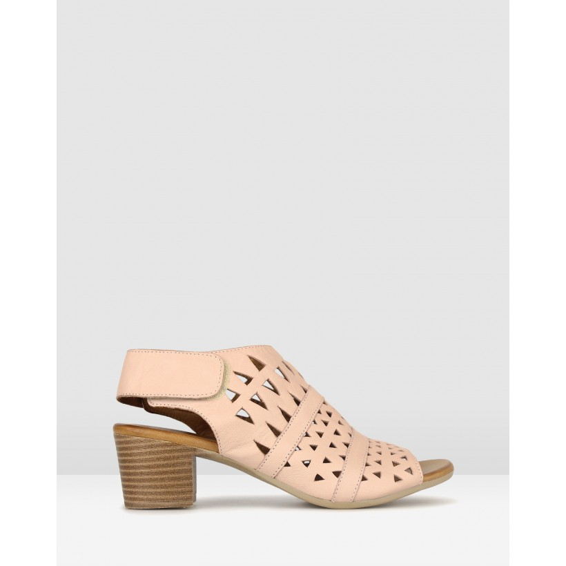 Delicious Cut Out Leather Sandals Blush by Airflex