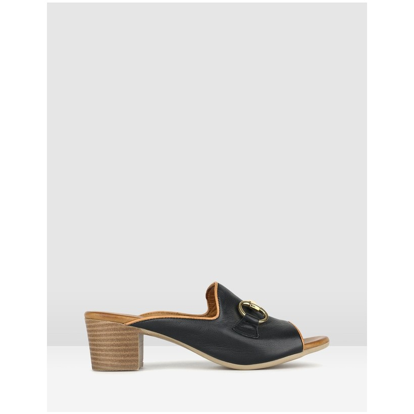 Delight Leather Block Heel Mules Black by Airflex