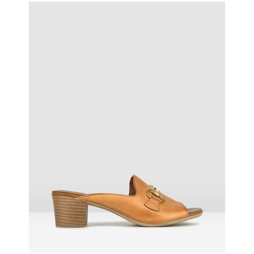 Delight Leather Block Heel Mules Tan by Airflex