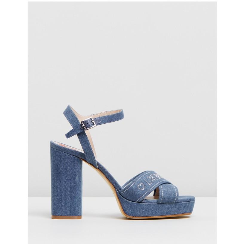 Denim Platform Heels Blue Denim by Love Moschino