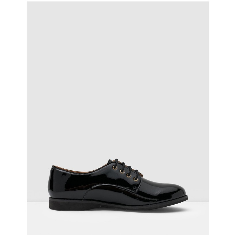 Derby Shoes All Black Patent by Rollie