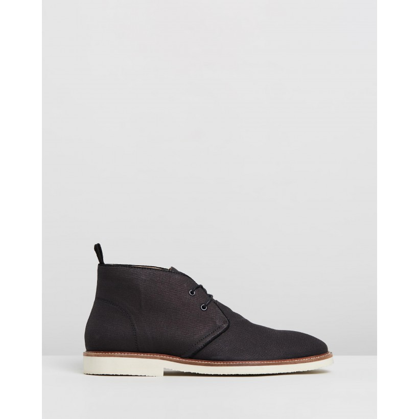 Dillon Canvas Desert Boots Black by Staple Superior