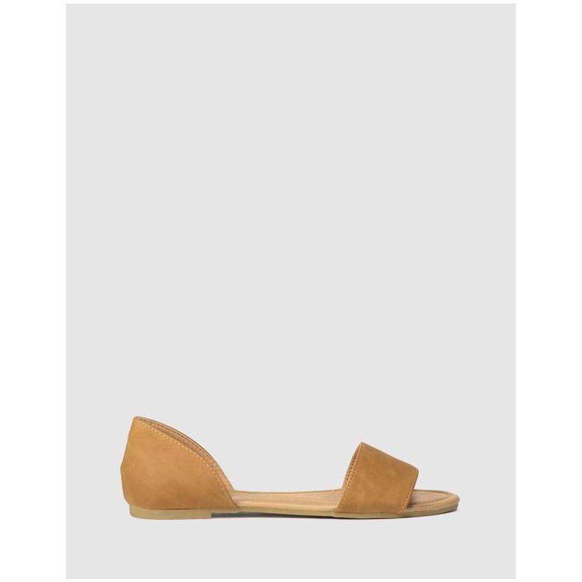 Dixie Peep Toe Sandals Tan Nubuck by Rubi