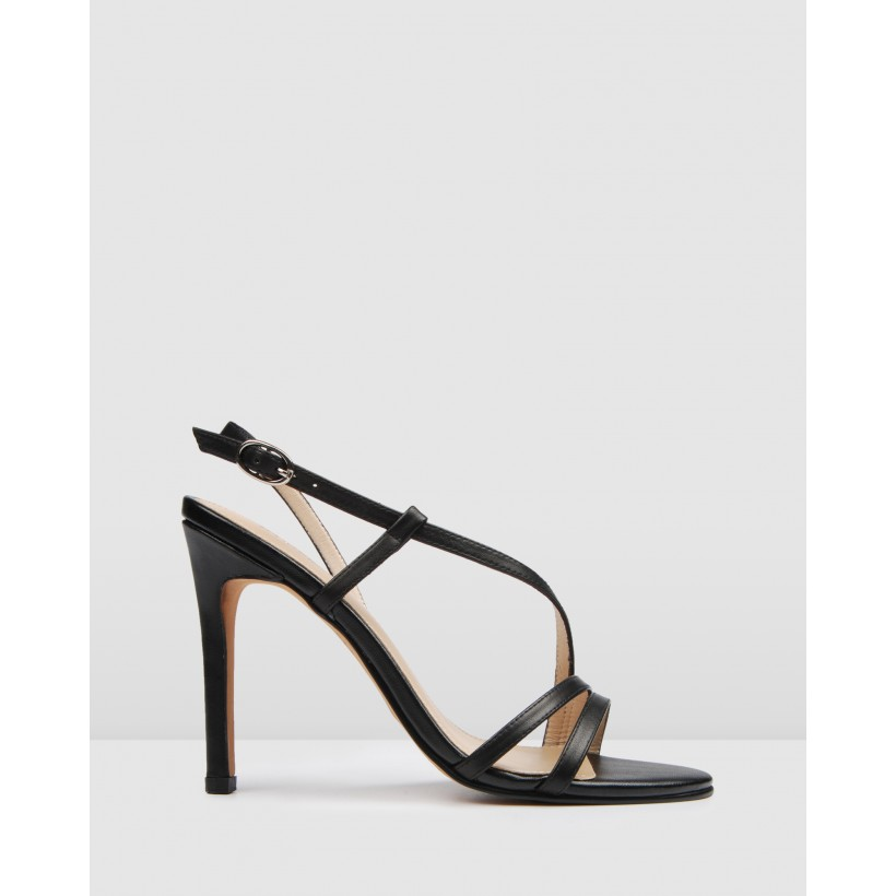 Donna High Heels Black Leather by Jo Mercer