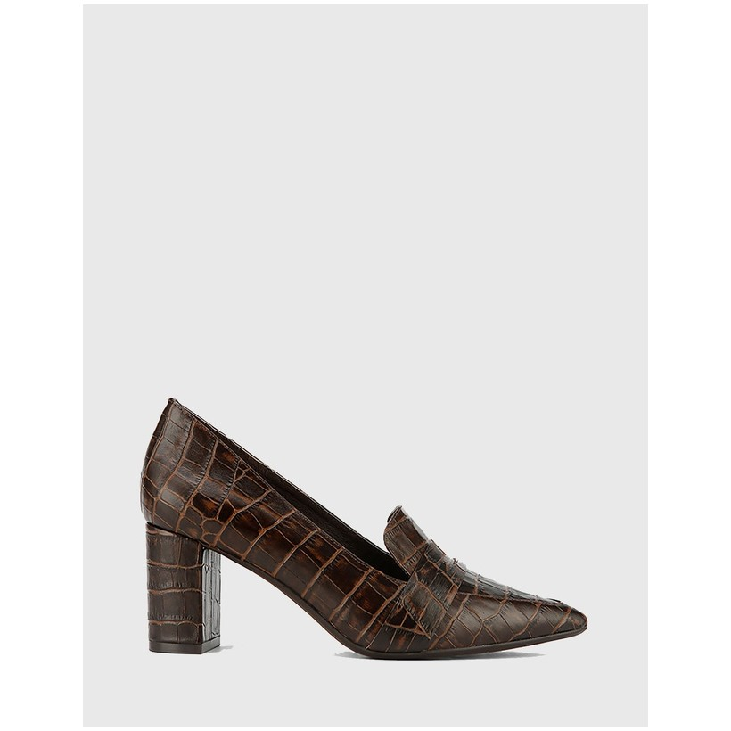 Donner Croc Leather Pointed Toe Block Heels Brown by Wittner