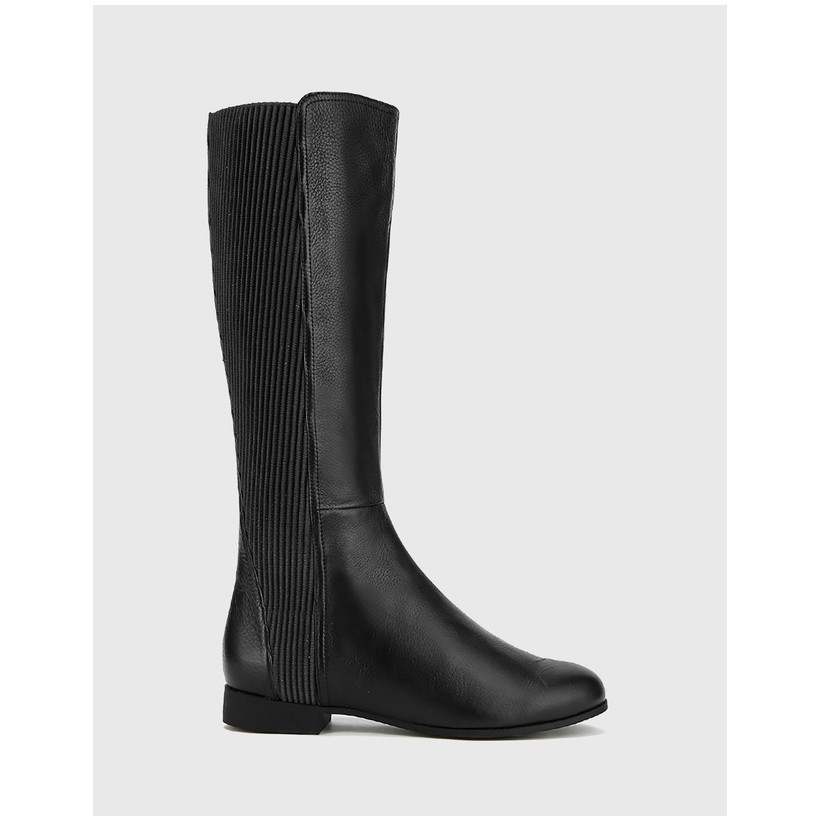 Drue Leather Stretch Knit Gusset Long Boots Black by Wittner