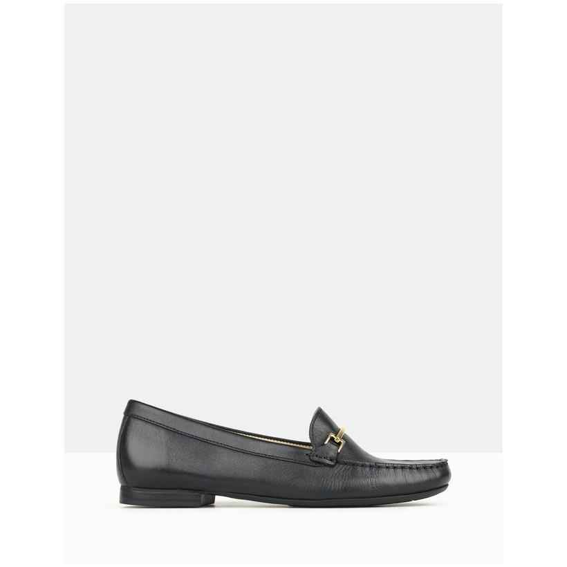 Dublin Gold Trim Loafers Black by Airflex