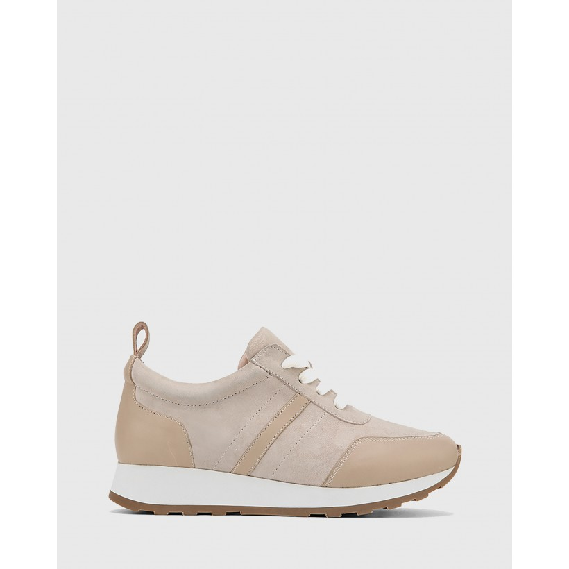 Edun Suede Leather Lace Up Sneakers Bone by Wittner