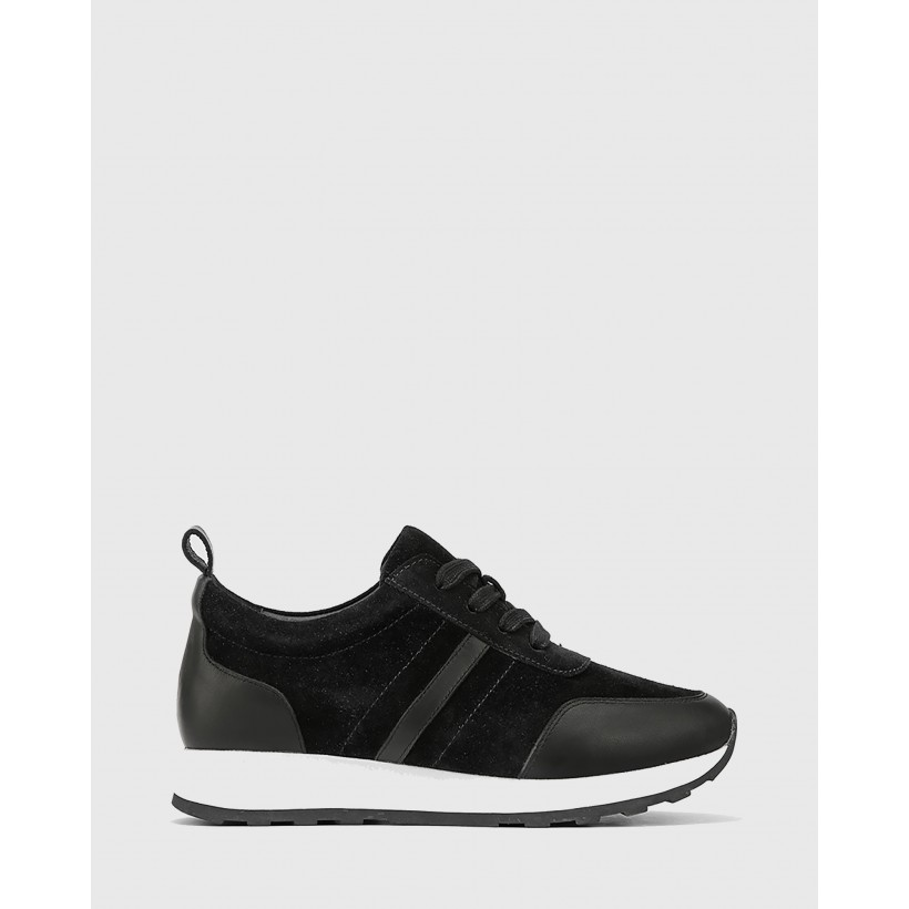 Edun Suede Leather Lace Up Sneakers Black by Wittner