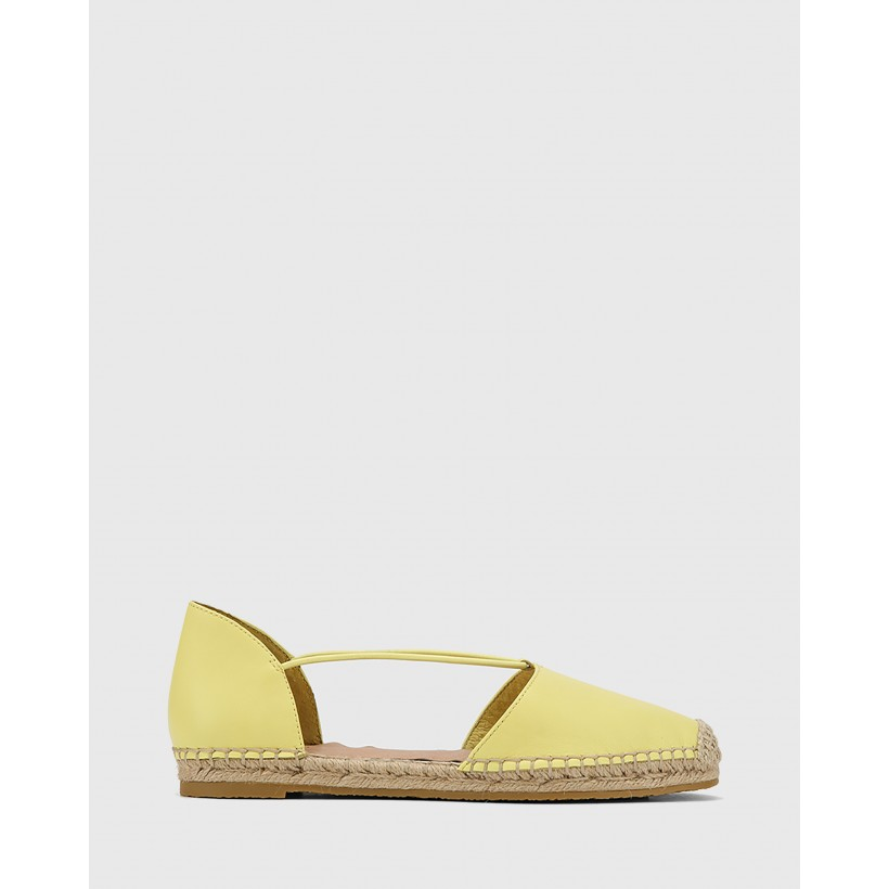 Elgin Leather Espadrille Flats Yellow by Wittner