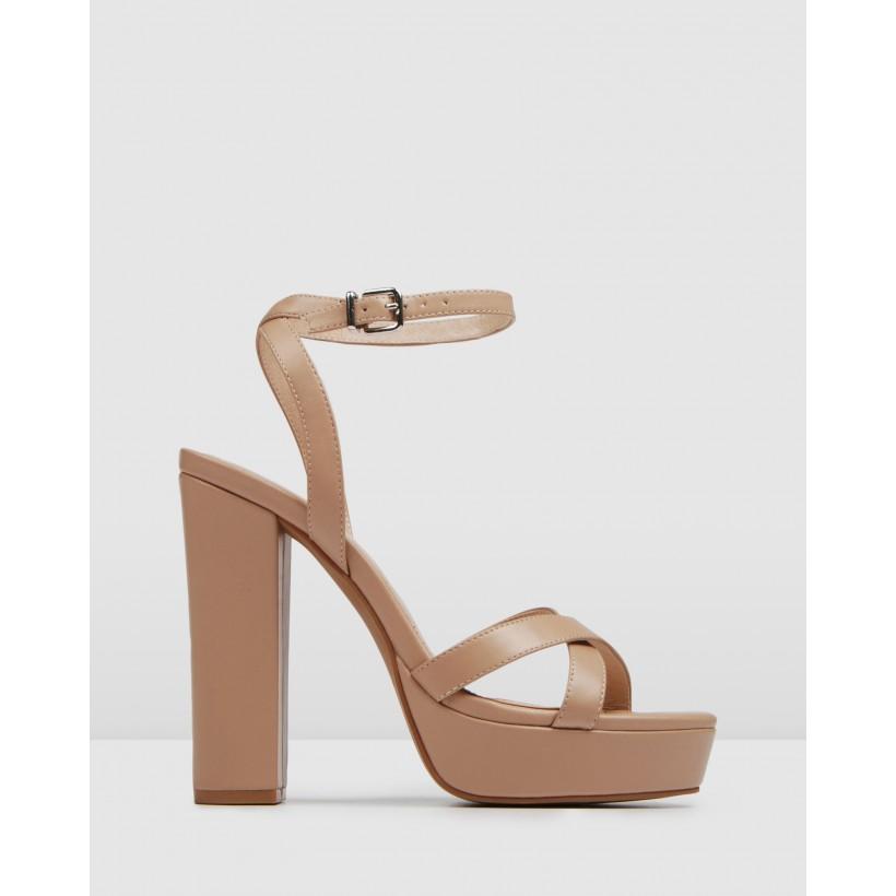 Elli High Heel Sandals Beige Leather by Jo Mercer