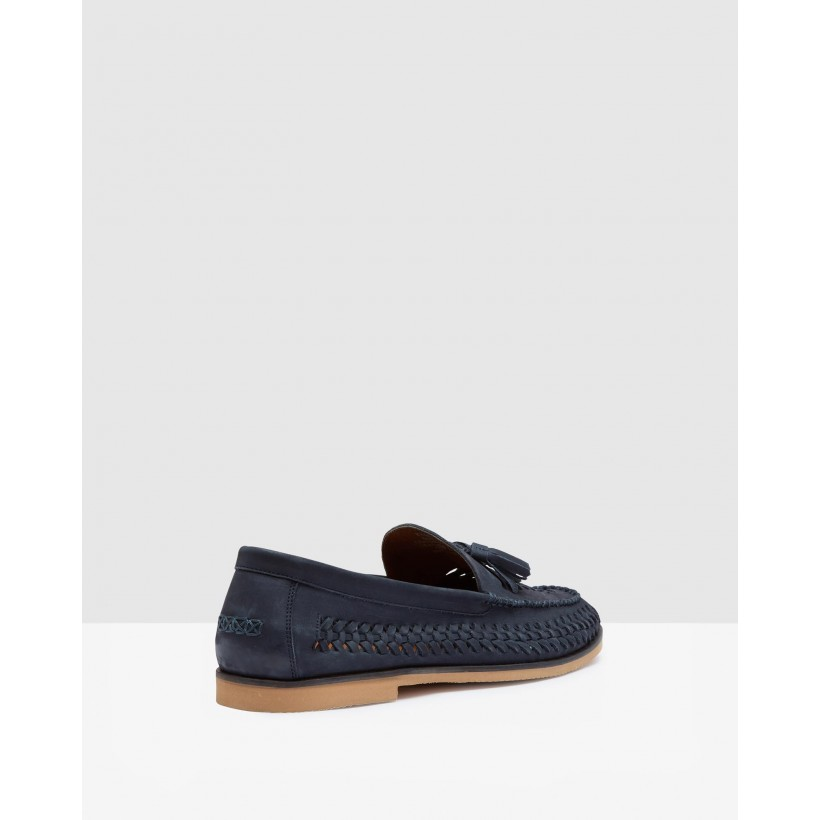 Fabian Woven Tassle Loafers Navy by Oxford